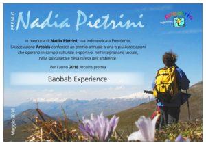 Attestato premio Nadia Pietrini